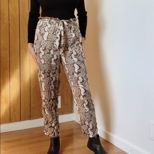 H&M paperbag snakeskin pants